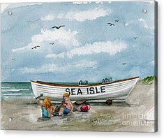 Acrylic Print featuring the painting Best Buddies In Sea Isle  by Nancy Patterson