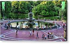 Bethesda Fountain Overlooking Central Park Pond Acrylic Print by Paul Ward