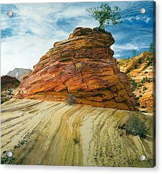Between A Rock And A Soft Place Acrylic Print by Robert Keller