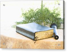 Bible And Microphone On Table Acrylic Print by Ned Frisk