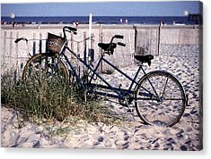 Bicycle Built For Two On A Beach Acrylic Print by Ercole Gaudioso
