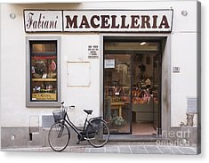 Bicycle In Front Of Italian Delicatessen Acrylic Print by Jeremy Woodhouse