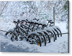 Bicycles In The Snow Acrylic Print by Heidi Smith