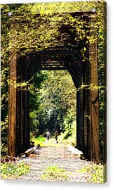 Bicycling Across Old Train Bridge Acrylic Print