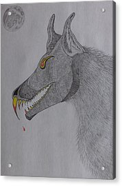 Acrylic Print featuring the drawing Big Bad Wolf by Gerald Strine