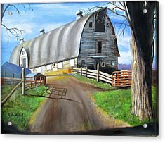 Acrylic Print featuring the painting Big Barn At Kripplebush by Oz Freedgood