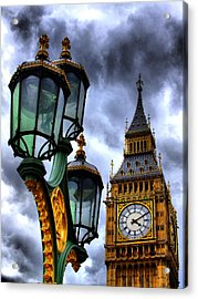 Big Ben And Lamp - Hdr Acrylic Print by Colin J Williams Photography