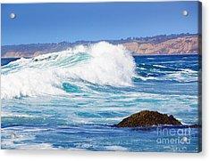 Big Blue Wave Breaks On La Jolla California's Pacific Coast Acrylic Print by Susan McKenzie