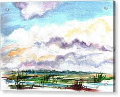 Acrylic Print featuring the painting Big Clouds by Clara Sue Beym