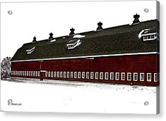 Acrylic Print featuring the photograph Big Red Barn In Winter by Edward Peterson