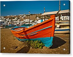 Big Red Boat On The Sand Acrylic Print by Preston Coe