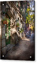 Bike - Ny - Greenwich Village - The Green District Acrylic Print by Mike Savad