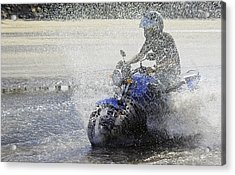 Biker  Making A Splash Acrylic Print by Kantilal Patel