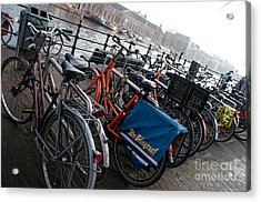 Acrylic Print featuring the digital art Bikes In Amsterdam by Carol Ailles