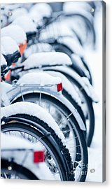 Acrylic Print featuring the photograph Bikes In Snow by Andrew  Michael