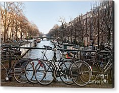 Acrylic Print featuring the digital art Bikes On The Canal In Amsterdam by Carol Ailles