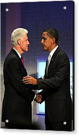 Bill Clinton, Barack Obama At A Public Acrylic Print