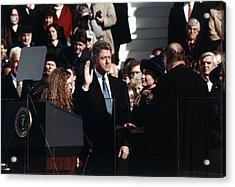 Bill Clinton Center, Taking The Oath Acrylic Print by Everett