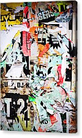 Billboard With Old Torn Posters Acrylic Print by Richard Thomas