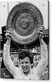 Billie Jean King Holding Wimbledon Acrylic Print by Everett