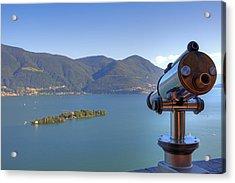 Binoculars Focused On The Isole Di Brissago Acrylic Print by Joana Kruse