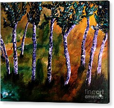 Acrylic Print featuring the painting Birch Forest by Ayasha Loya