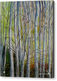 Acrylic Print featuring the painting Birch Forest by Julie Brugh Riffey