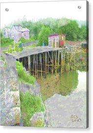 Acrylic Print featuring the digital art Birch Harbor Fog by Richard Stevens