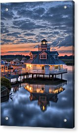 Acrylic Print featuring the photograph Bird And Sundown On The Pagan River by Williams-Cairns Photography LLC