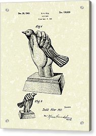 Bird In The Hand Coin Bank 1943 Patent Art Acrylic Print by Prior Art Design