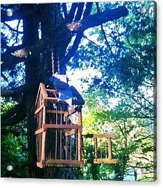 Birdcage Above My Reading Bench Acrylic Print