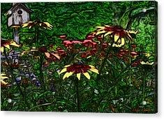 Birdhouse Garden Acrylic Print by Debra     Vatalaro
