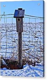 Birdhouse In The Snow Acrylic Print by Julio n Brenda JnB