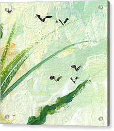 Birds Modern Abstract Painting Acrylic Print by Ginette Callaway