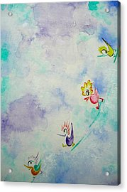 Birds On The Clouds  Acrylic Print by Asida Cheng