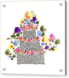 Birthday Cake With Flowers And Words Acrylic Print