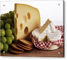 Biscuits, Grapes And Continental Cheeses Acrylic Print by Simon Battensby