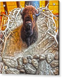Acrylic Print featuring the painting Bison Head by Gregory Dyer