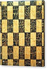 Black And Gold Japanese Checkered Pattern Acrylic Print by Kazuya Akimoto