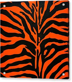 Black And Orange Zebra Acrylic Print