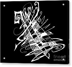 Black And White And Abstract All Over Acrylic Print by Stef Schultz Sorry Little Sharky
