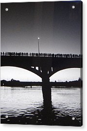 Black And White Austin Texas Bat Bridge Acrylic Print by Shawn Hughes