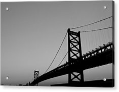 Black And White Bridge Acrylic Print by Bill Cannon
