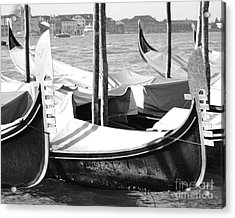 Black And White Gondolas Venice Italy Acrylic Print by Rebecca Margraf