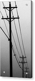 Black And White Poles In Fog Right View Acrylic Print