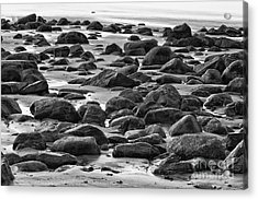 Black And White Wet Rocks Acrylic Print