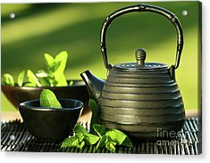 Black Asian Teapot With Mint Tea Acrylic Print by Sandra Cunningham