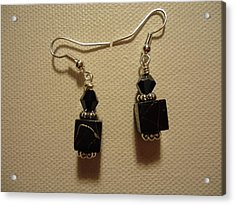 Black Cube Drop Earrings Acrylic Print by Jenna Green