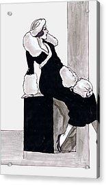 Black Dress With Fur Acrylic Print by Mel Thompson