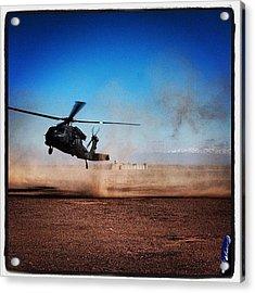 Black Hawk Landing In Afghanistan Acrylic Print